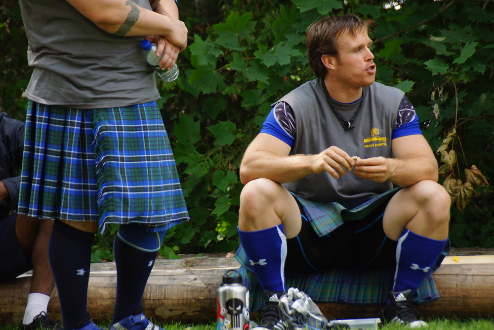 Matthew Doherty taking a break at the New Brunswick Highland Games in between athletic competition events