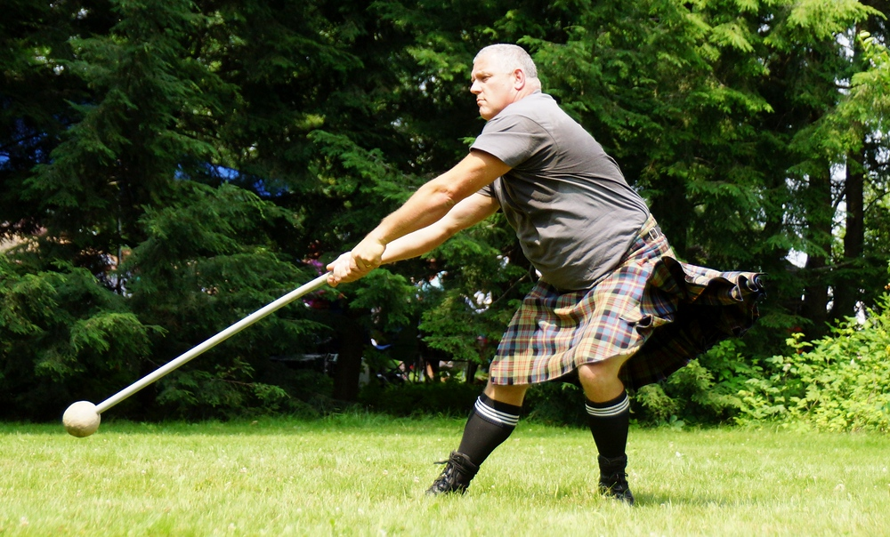 Dirk Bishop, a veteran of the games, practicing for the Hammer toss at the Highland Games in Fredericton