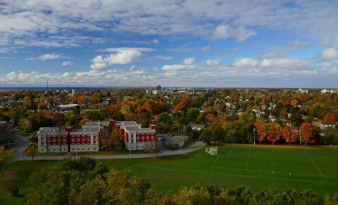 Scenic views of Queen's west campus in the fall in Kingston, Ontario, Canada