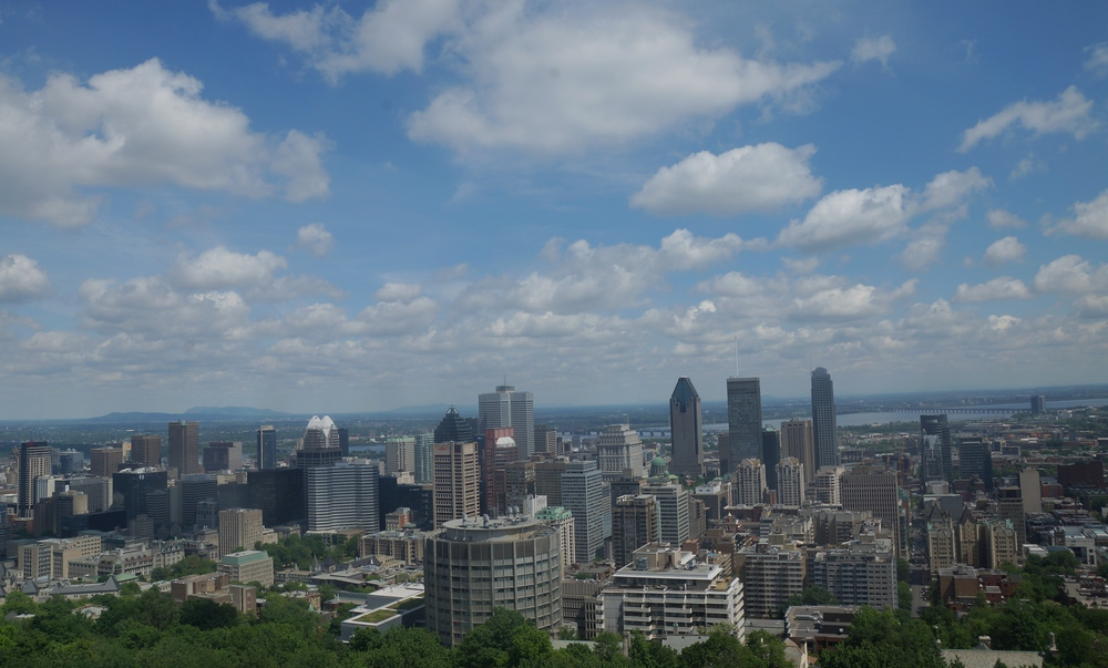 Views of Montreal from the lookout point from Mount Royal Park - Parc du Mont-Royal