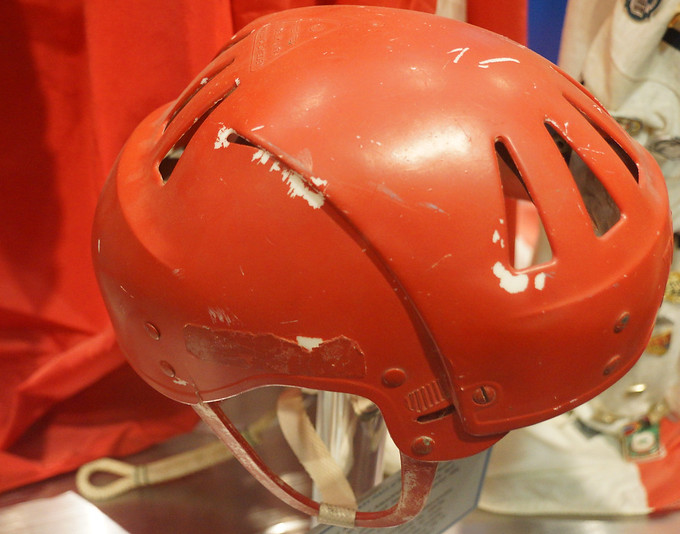 An old vintage hockey  helmet worn by the Soviet National Team