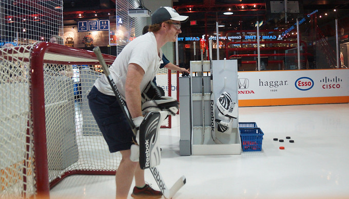 Here I am as the hockey goalie taking shots from Wayne Gretzky and Mark Messier