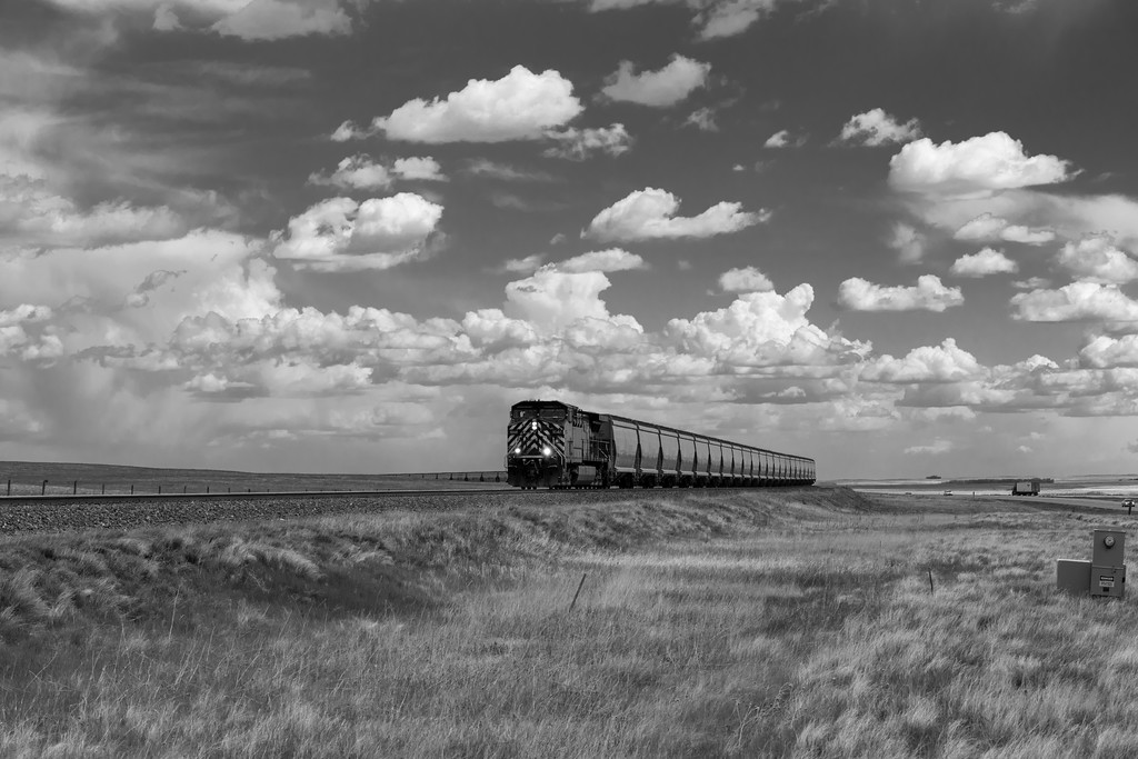 Freight Train passing through the Canadian Plains