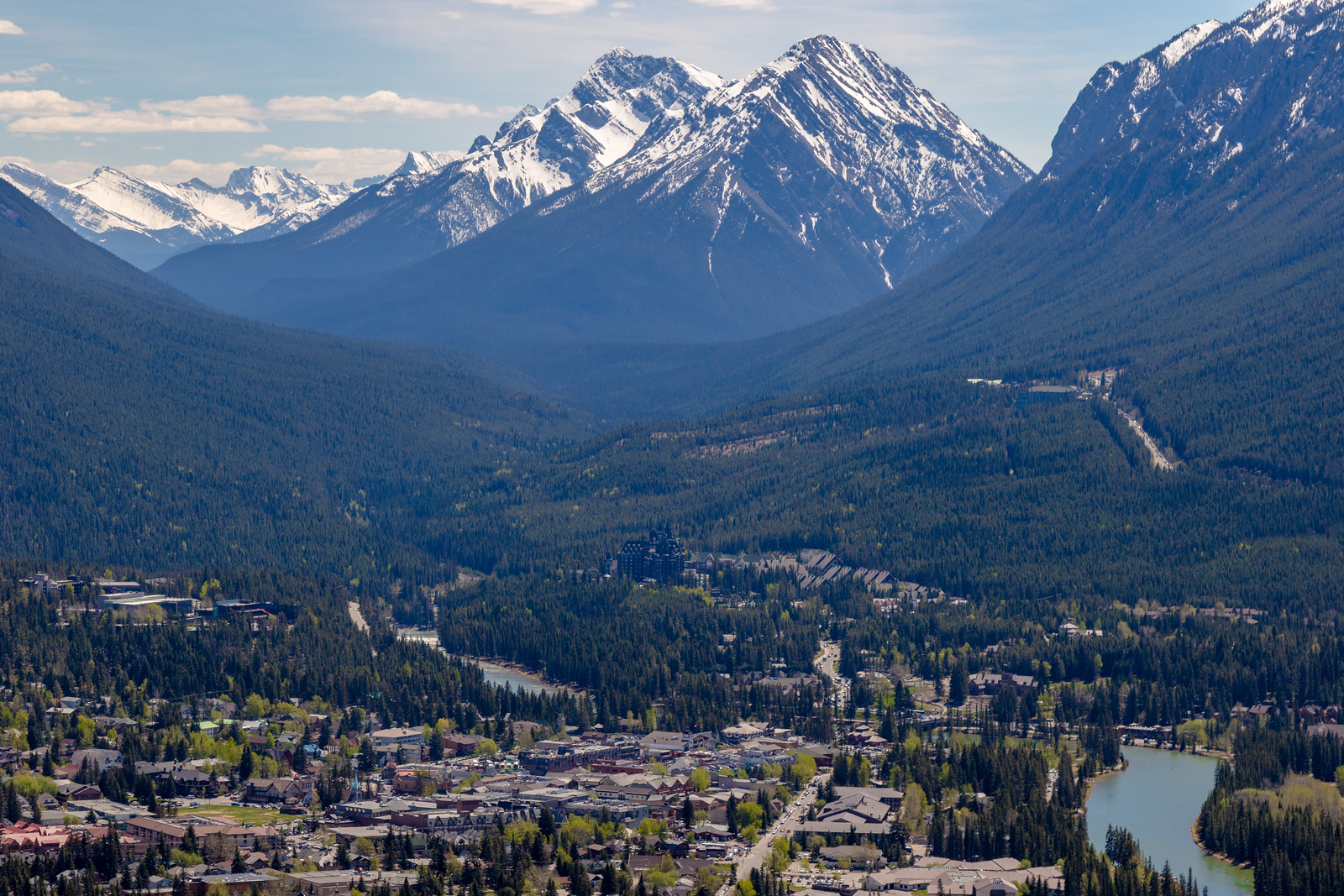 Rockies towering over Banff, Alberta