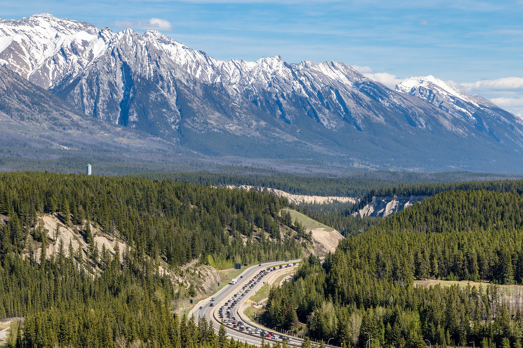 The Rockies towering over the Trans-Canada Highway