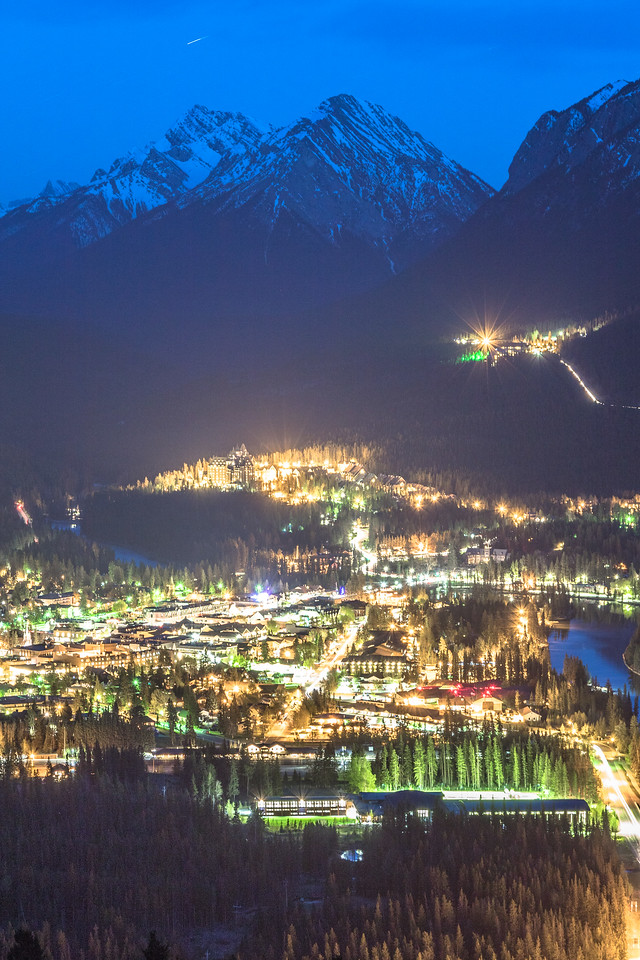 Nighttime View of Downtown Banff and the Rockies