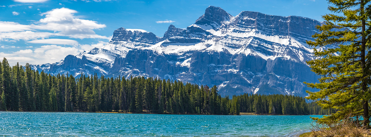 Mt. Rundle Panorama from Two Jack Lake