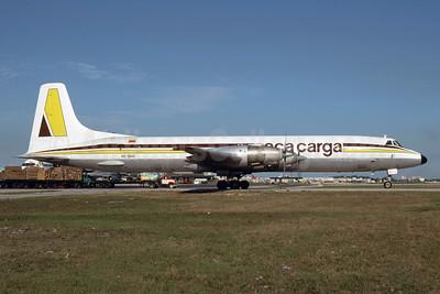 AECA Carga Canadair CL-44D4-1 Swingtail HC-BHS (msn 14) MIA (Bruce Drum). Image: 103503.