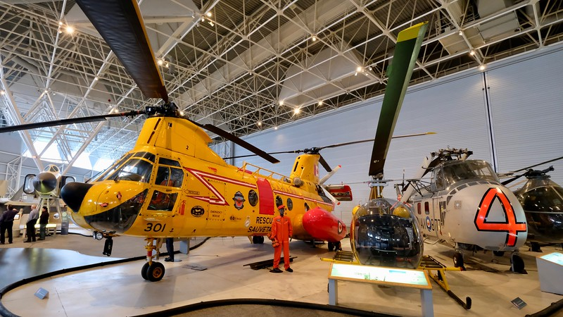 Helicopters, large and small, for rescue and transport.