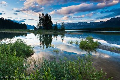 The Opal Range from Lower Kananaskis Lake in Peter Lougheed Provincial Park.