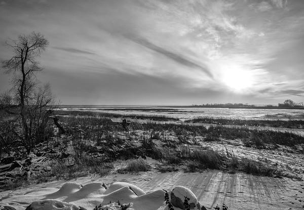 Lake Winnipeg shoreline at sunset