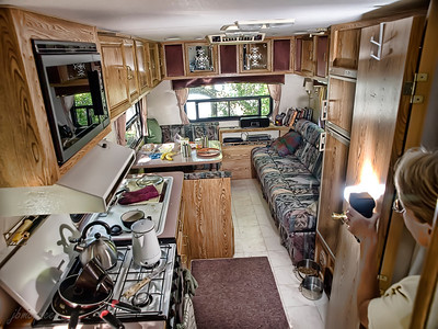 Practicing for my 'Flash class'... this is pretty much the entire camper, looks like lots of room until you add the rather large dog, whose couch is on the right..... that doesn't leave a whole lot of space for the humans, does it?
