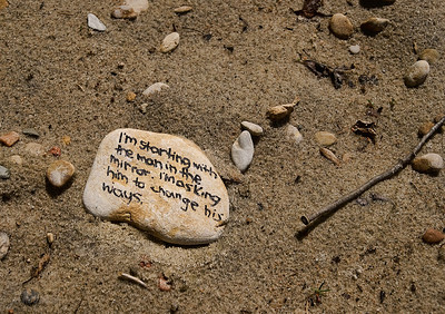 As far as I know, the stones are all still there on the beach.... captivating imaginations all summer long...