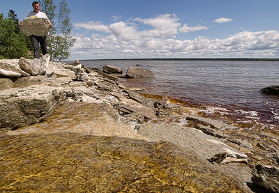 Lake Winnipeg, Quarry Beach on Hecla Island. Not great for photos that day, too much bright, glaring sun during the time we were there. But it was sure an awesome day for walking, soaking up the rays & rearranging the beach...