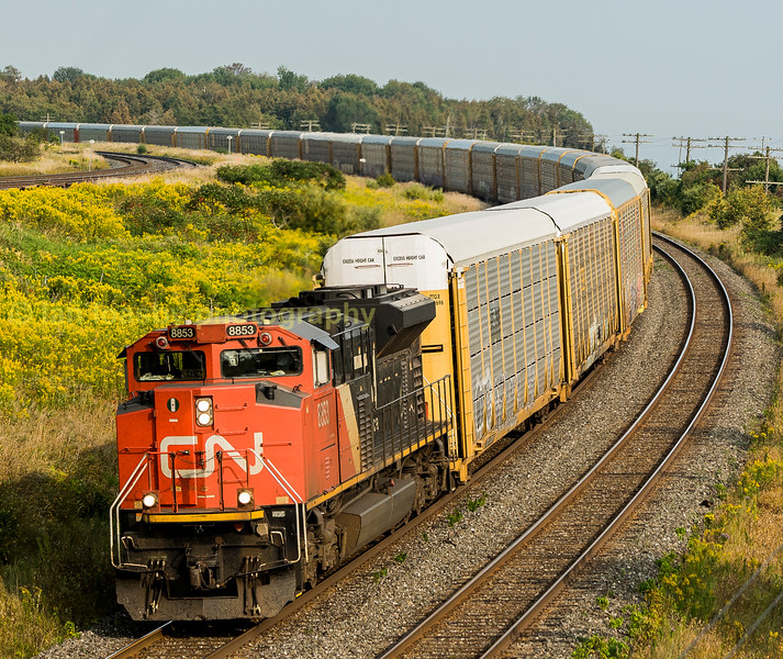 CN train 271 an empty cartics train to the GM plant at Oshawa on the outskirts of Toronto  Kingston sub near Pentecostal rd loco is CN 8853 a 4300 HP SD70 built by GMD