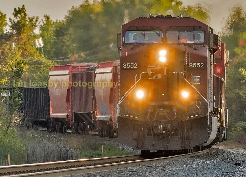 Final train of the day was CP train 421 a Toronto-Thunder bay  pick up freight headed by AC44CW  #8552 at the crossing by my hosts home.