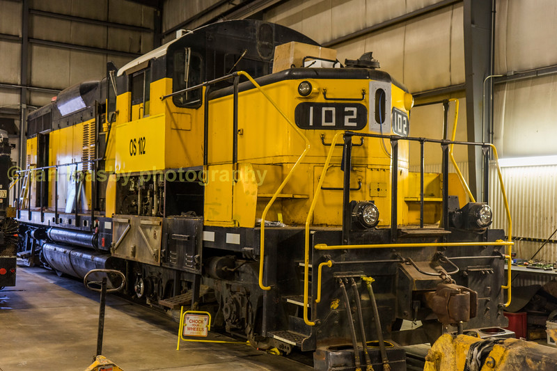 Tuesday 19-09-17 was one of the highlights of my trip, my visit to The Ontario Southland Railway (OSR) and a ride on a F unit... but first  seen in the companies Salford  shops is August 1963 built GP9 #102
