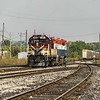 The two dead in tow ''DIT' loco's where dropped here at the CP exchange siding in Woodstock for onward transit to Guelph Jct