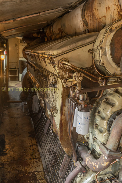 Engine compartment of  1954 built GMD 1800 hp  FP9Au #6508