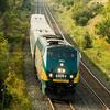 Via rail train 46 with Genesis unit( P42DC) # 902 in charge of  the Sun -fri 1540 Toronto  -  Montreal service  near Grafton on the Kingston sub 15-09-17