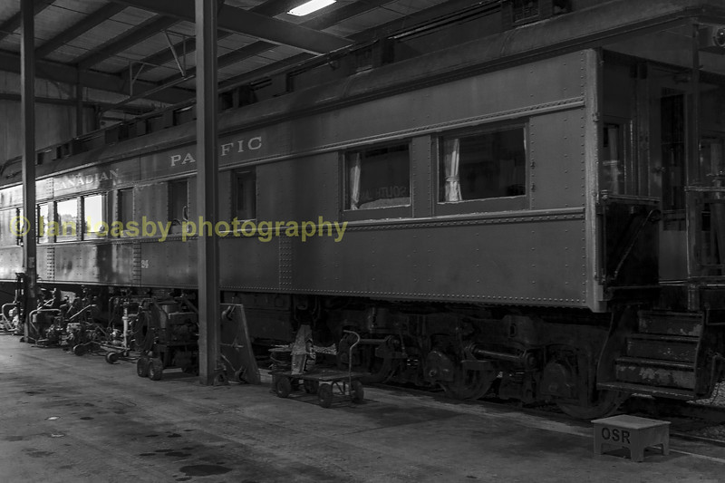 An ex Canadian Pacific passenger car under going restoration and repair.