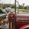 Restored ford fire truck outside the  Headquarters of Burlington Fire & Emergency Services, and operating station #1, located at 1255 Fairview Street in Burlington, ON.