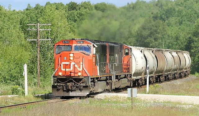 CN 5761, a GMD SD75I just west of Richan, Ontario