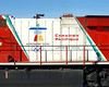 The paint scheme for the 2010 Olympics in Vancouver, BC as applied to CP 8865, a GE ES44AC.<br /> <br /> Photo taken at Barclay Ontario.
