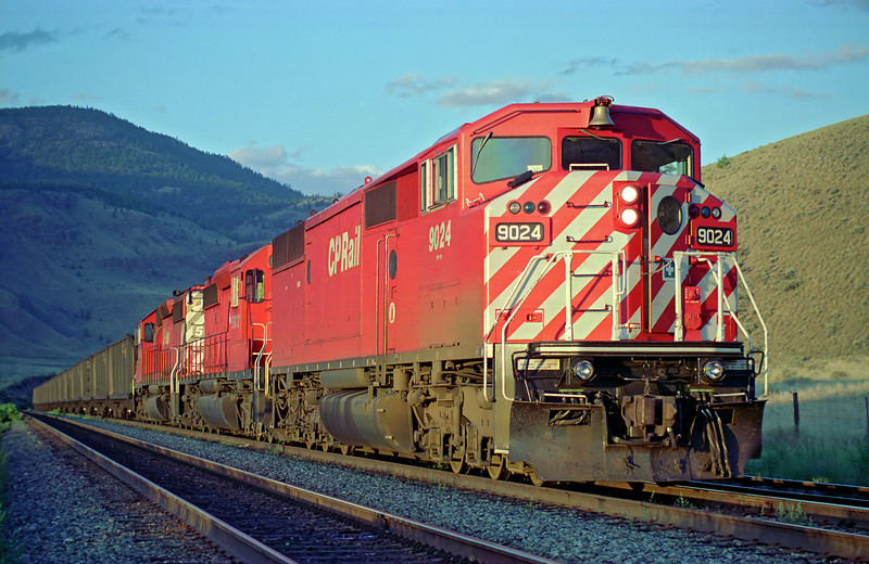 CP 9024 West sitting in the siding of Semlin BC. I was conductor this trip. <br /> <br /> I deleted the previous version of this photo so I could post this reworked version.