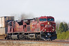 CP 9826, AC4400CW, and CP 9121, a SD90MAC, heading east at Barclay, Ontario.