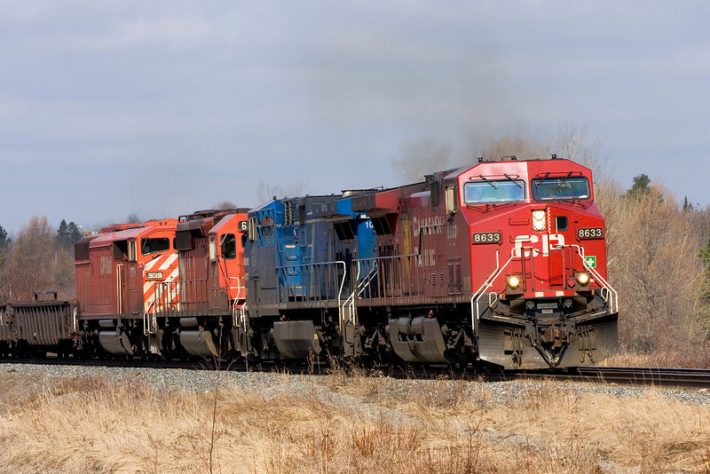 CP 8633, CEFX 1035 and CP 9019 heading East out of Dryden towards Barclay Ontario.