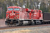 CP 8730 sitting on the North track at Barclay, Ontario while waiting for a east bound train (CEFX 1043) to leave Dryden. <br /> <br /> There was a work gang sitting on one of the main tracks in Dryden so there was no room for CP 8730 and CEFX 1043 to pass there. 8730 is sitting east of the two crossings at Island View Road (so as to not block them).