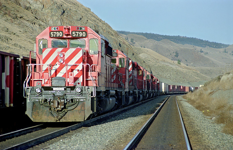 CP 5790 East with 7 more SD-40-2's trailing her.