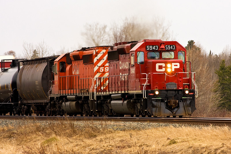 A pair of CP Rail GMD  SD-40-2's heading eastward for Barclay, Ontario.