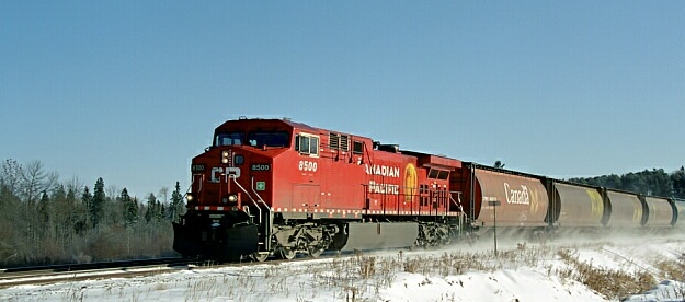 CP 8500 West grain train at Island View Road crossing.