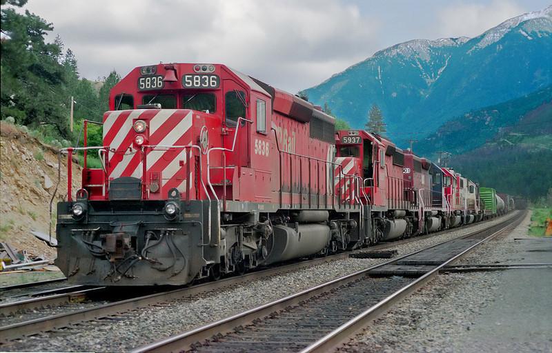 CP 5836 sits at Lytton, BC.
