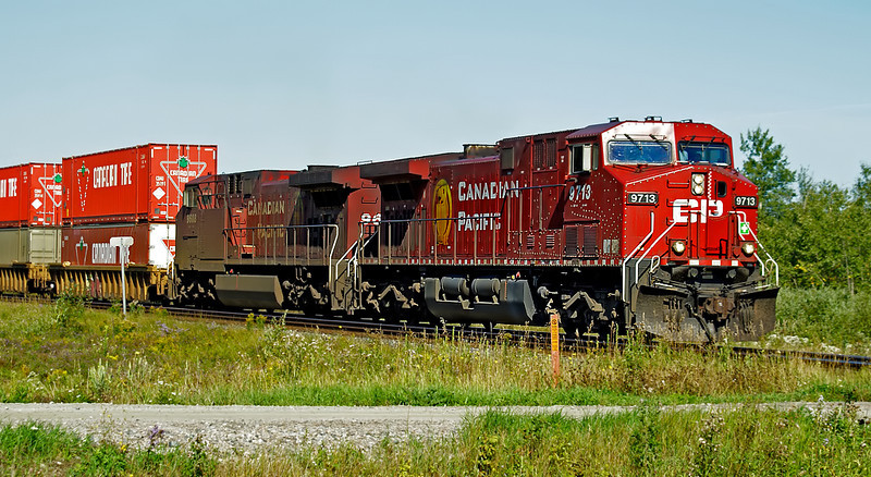 CP 9713 East at the islandview Rd crossing east of Dryden, Ontario.