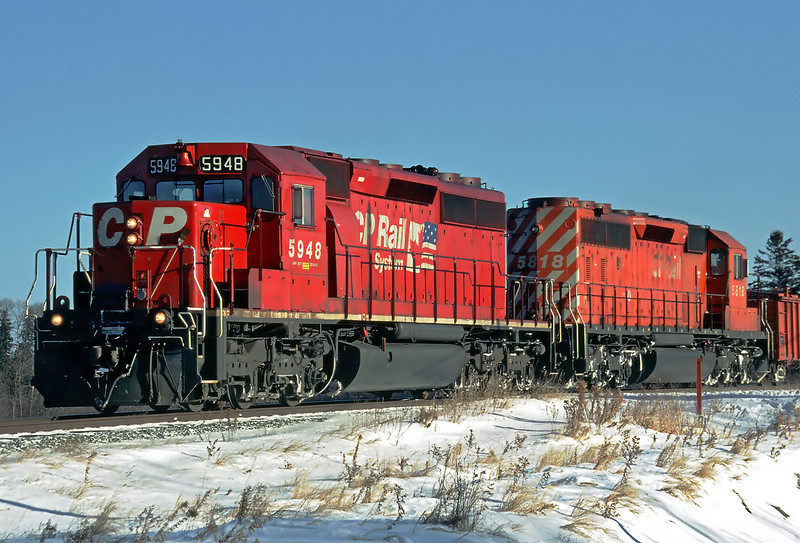 CP 5948, and CP 5818 (both SD-40-2's) at Island View Rd, Barclay Ontario.
