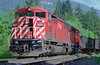 CP 9007, a SD-40-2F with a SD-40-2, hauls coal empties east of North Bend, BC.