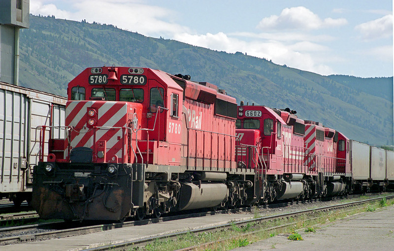 Three SD-40-2's - CP 5780, SOO 6602 (SD-60), and another CP unit sits at the east end of Ashcroft, BC