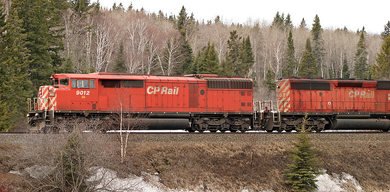 CP 9012 a SD-40-2F, and a CP SD-40-2 east of Dryden, Ontario.