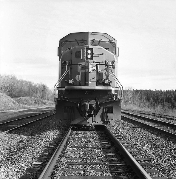 CP 9100 West sitting on the siding at Hawk Lake Ontario. <br /> <br /> Yashica 44 TLR (manufactured in 1960) loaded with Rollie 80s stand developed in Rodinal 1:100 for 50 minutes at 19C. This camera takes 127 film.