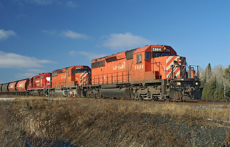 CP 5984, 6007, and 6602 (exc SOO 6602) at Barclay, Ontario