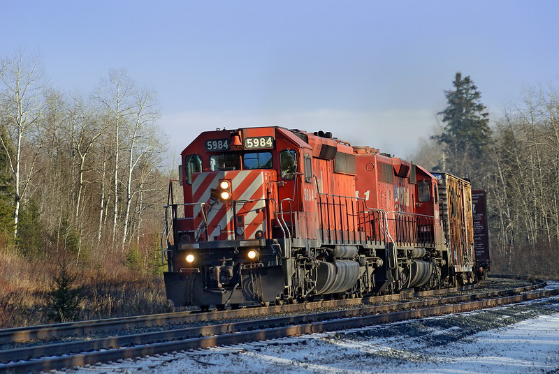 CP 5984 and CP 5641 at Bonny Bay Rd, Ontario. The lead locomotive is on her way back from Thunder Bay, Ontario. The next 2 photos shows this locomotive taken the previous day, on her way to Thunder Bay.