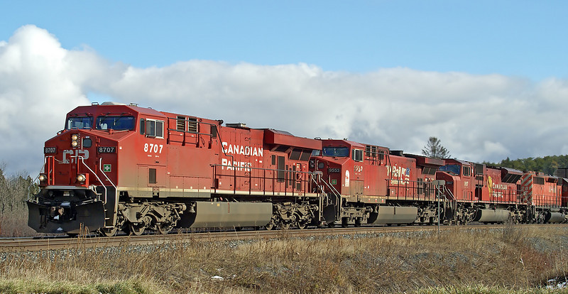 CP 8707, 9553, 9117 and 5728 at Barclay, Ontario
