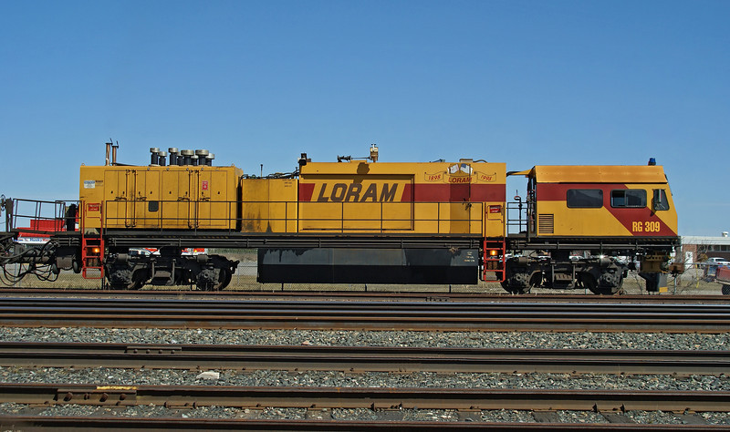 Loram Rail Grinder RG309 sits in the yard at Dryden.