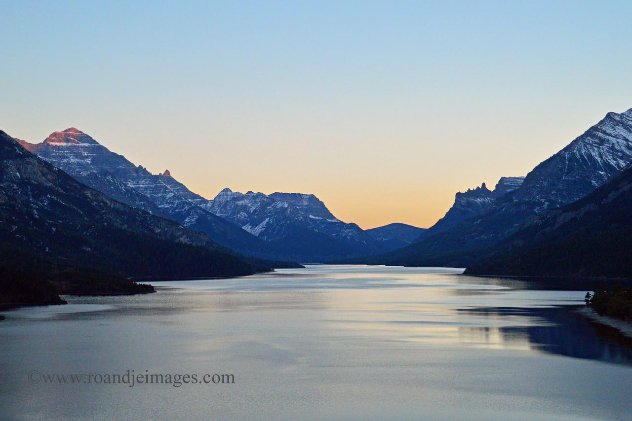 Sunset at Waterton Lake, Alberta, Canada