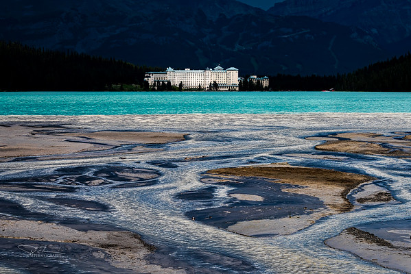 Fairmont Chateau Lake Louise Hotel - glacier sediment in foreground