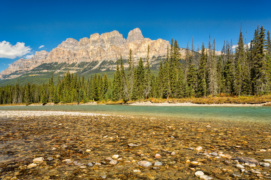 Castle Mountain from Bow River, Banff National Park, Alberta, Canada