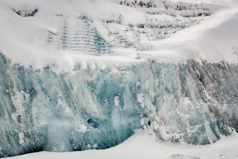 Blue Glacial Ice, Athabasca Glacier, Jasper National Park, Alberta, Canada